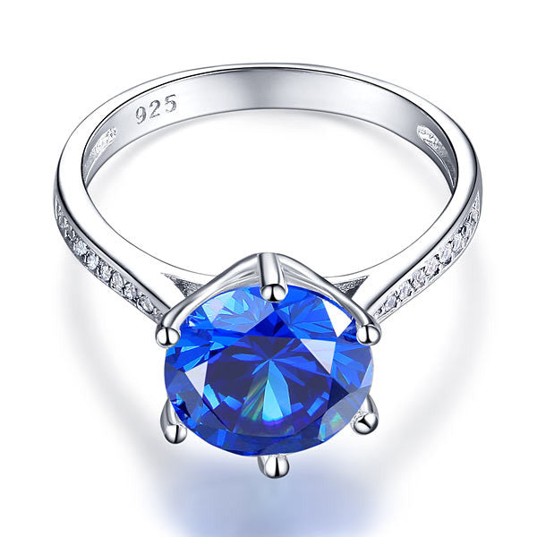 """Traditional In Blue."" Women's Ring 3 CT Created Center Gemstone. Offered by Elite Web Store."