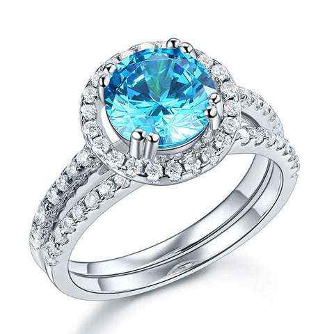 """The Double Blue Halo"". Women's Ring 2 CT Created Blue Center Gemstone.  Offered by Elite Web Store."
