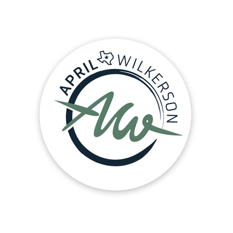 April Wilkerson's 3Inch AW logo sticker