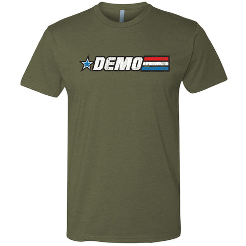 The GO DEMO striped military green shirt