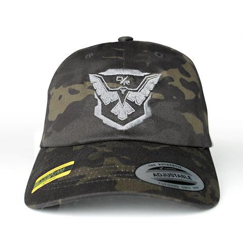 Demolition Ranch silver eagle emblem Multicam dad hat