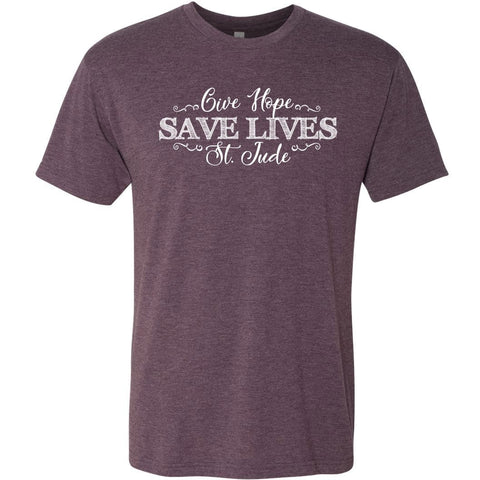 Give Hope, Save Lives, St. Jude women's shirt front