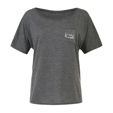 Just Be kind Womens Flowy Pocket Tee