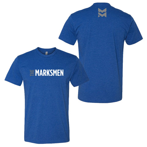 The Marksmen Blue Shirt front and back