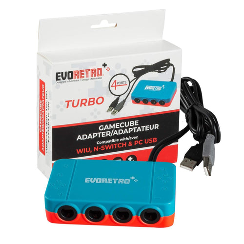 Adapter for Gamecube Controller Wii U, Switch, and PC USB - 4 Port by EVORETRO (Red and Blue)