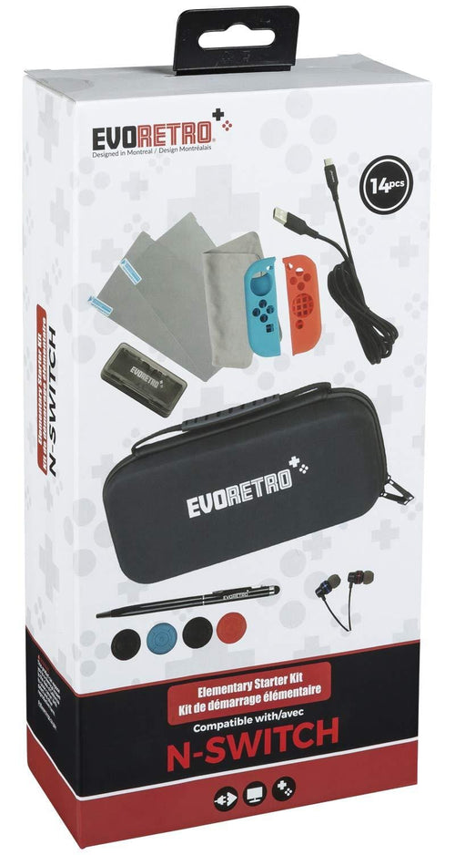 Ultimate Basic Accessories for Nintendo Switch – Essential Starter Kit for NS Outdoor or Travelling Use by EVORETRO