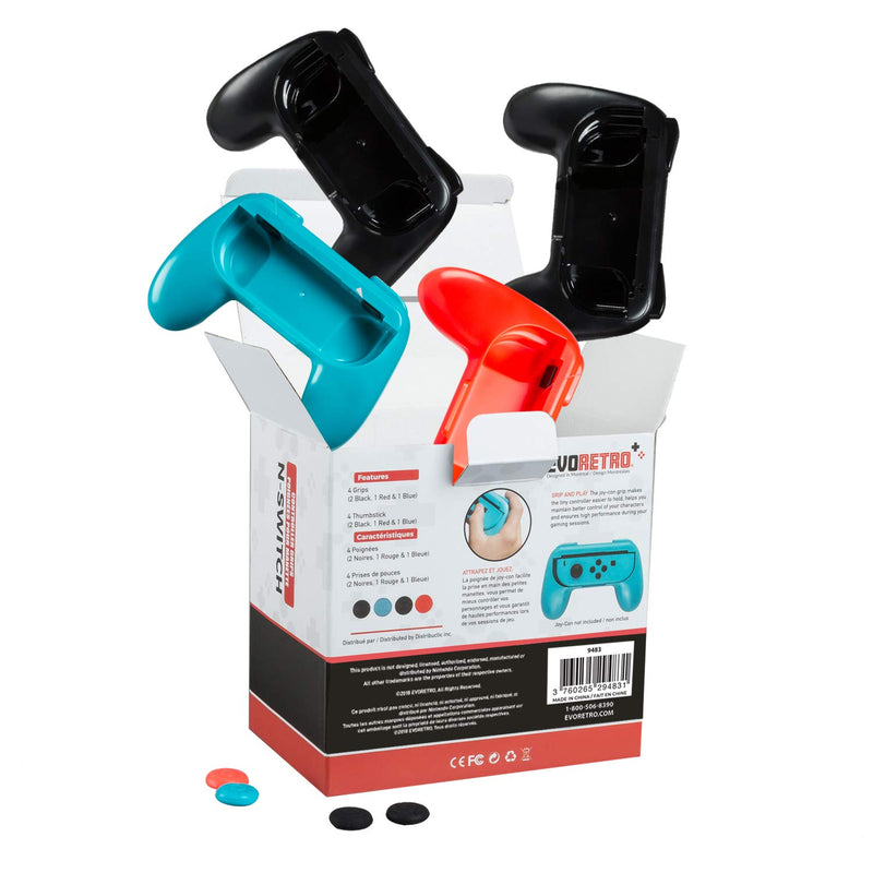 Joy-Con Handle Controller Grip Kit for Nintendo Switch 4-Pack (2 Black, Red, and Blue) by EVORETRO