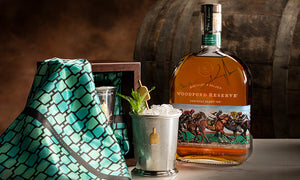 Bourbon Cousins' custom-designed silk used in Woodford Reserve's Mint Julep Cup sale for Derby 145