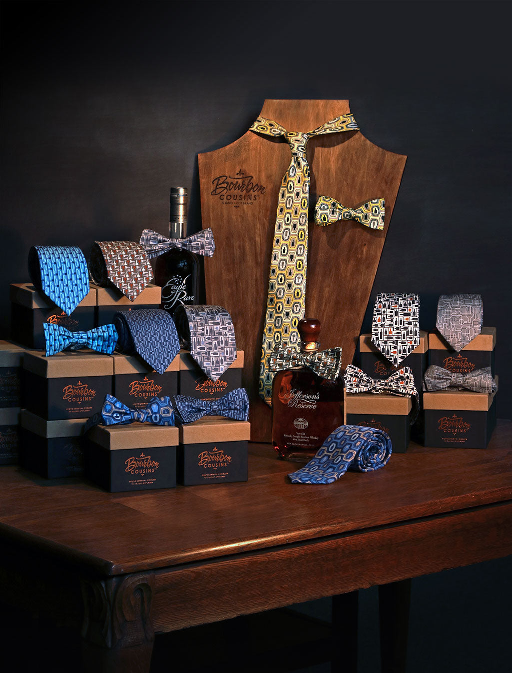 Bourbon Cousins Retail necktie and Bow tie display