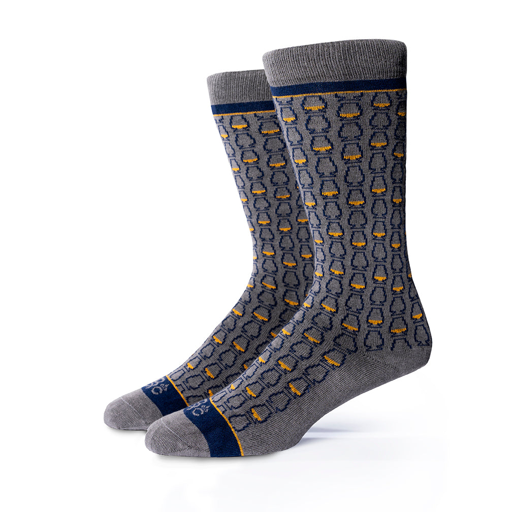 Glencairn Whiskey Glasses©  Socks | Gray + Navy