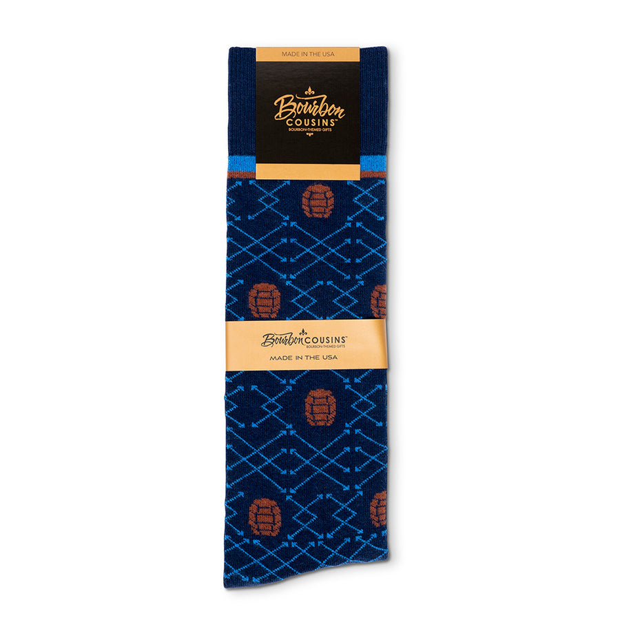 Barrel Pick© Socks | Navy +  Brown + Bright Blue