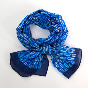 Bourbon Row © Scarf | Navy + Royal Azure Blue + Watercolor Wash made of silk-cotton