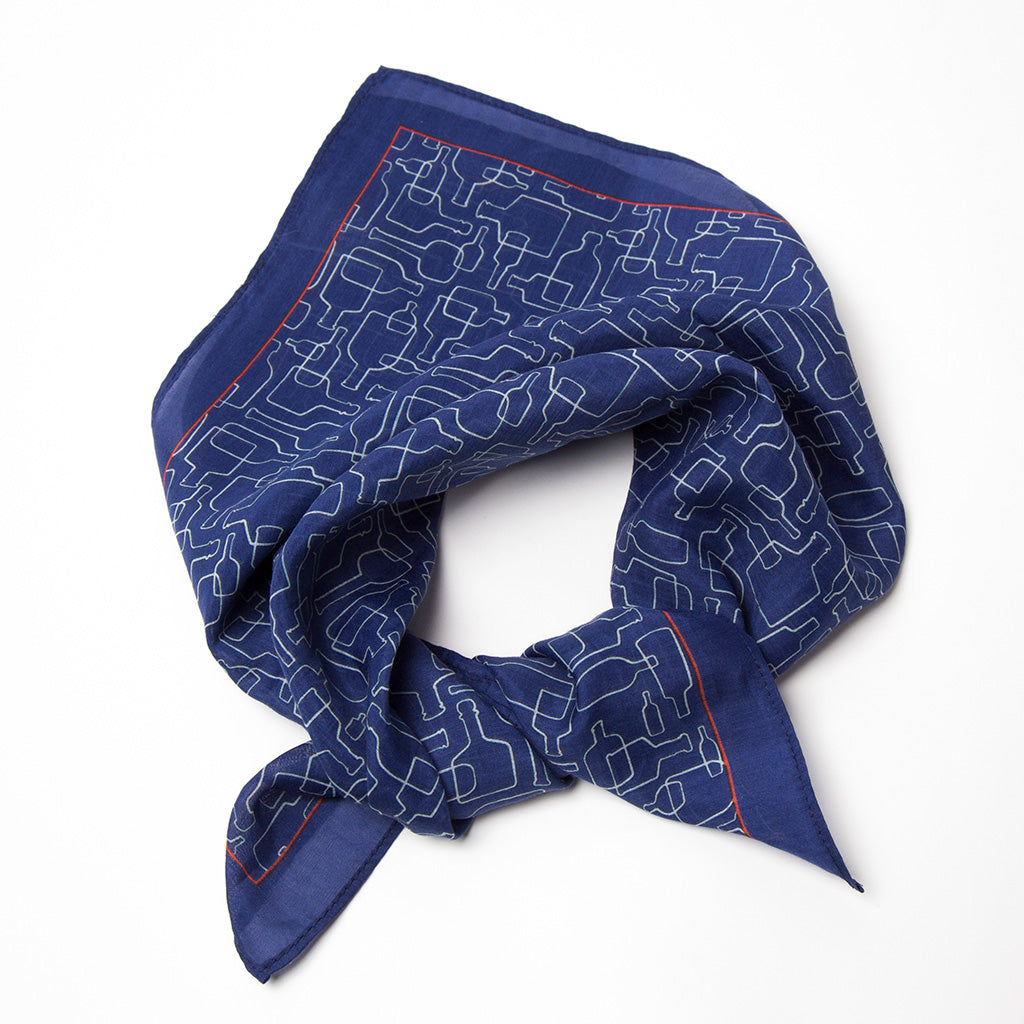 Bourbon Days© Neckerchief | Deep Navy + Red made of silk-cotton