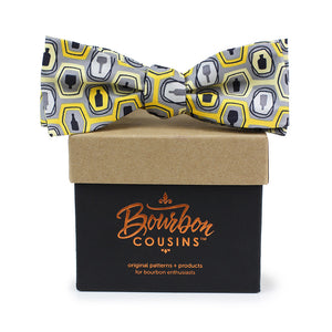Bourbon Fest© Bow Tie | Gold + Gray on gift box