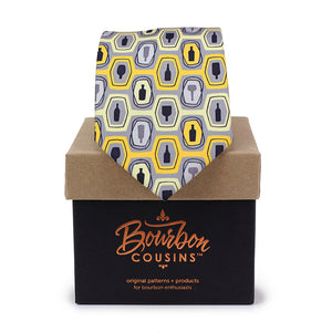 Bourbon Fest© Necktie | Gold + Gray on gift box
