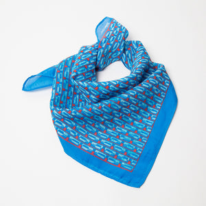Bourbon Row© Neckerchief | Brilliant Blue + Red made of silk-cotton