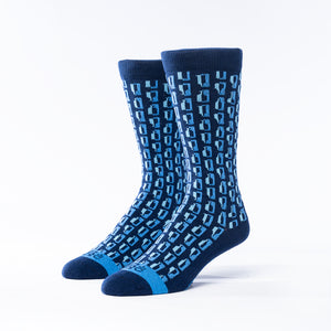 Bourbon Row© Socks | Navy + Bahama Blue