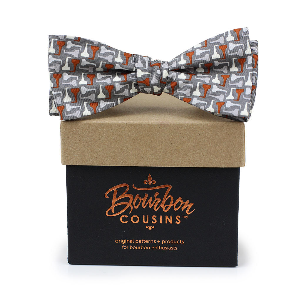 Copper Pot Stills© Bow Tie | Gray + Copper on gift box