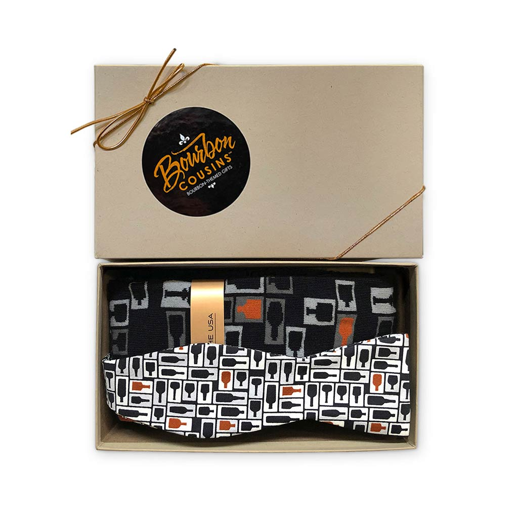 Retro Bourbon Bow Tie + Sock Gift Set | Black + Copper