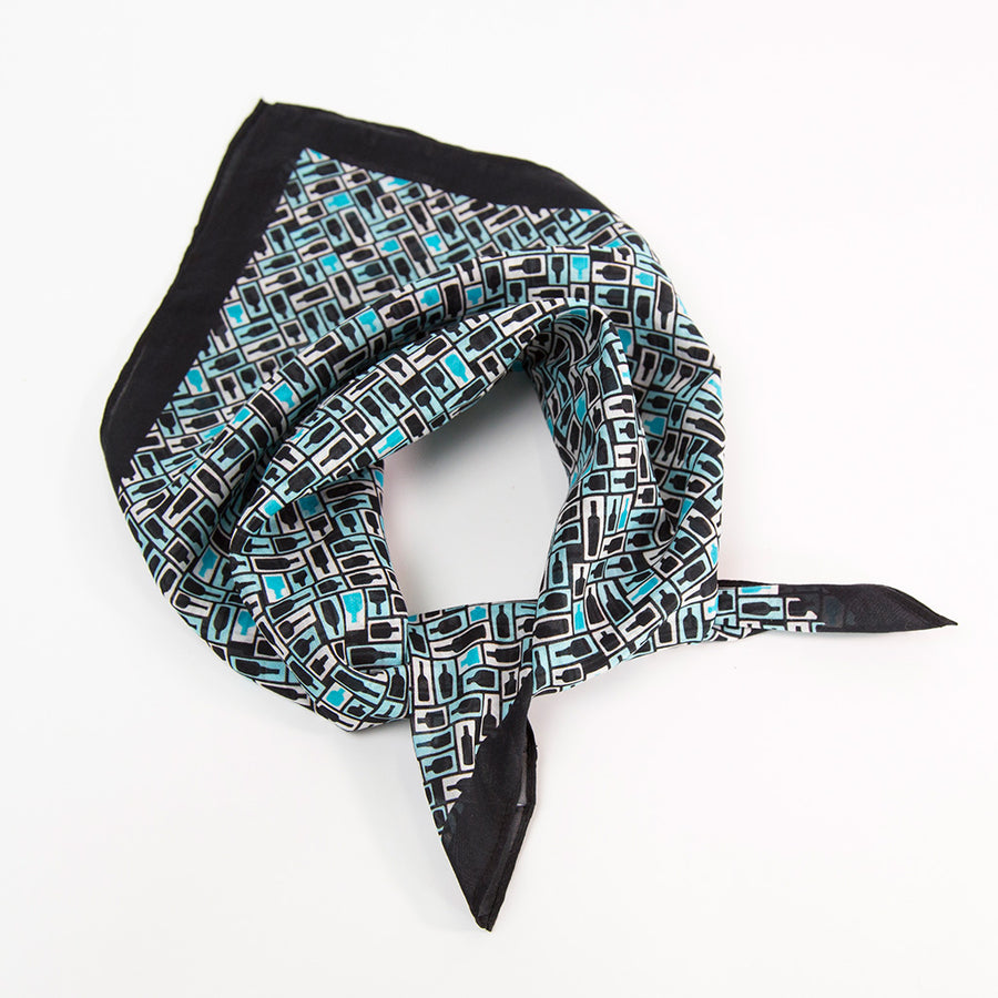 Retro Bourbon© Neckerchief | Black + Aqua made of silk-cotton