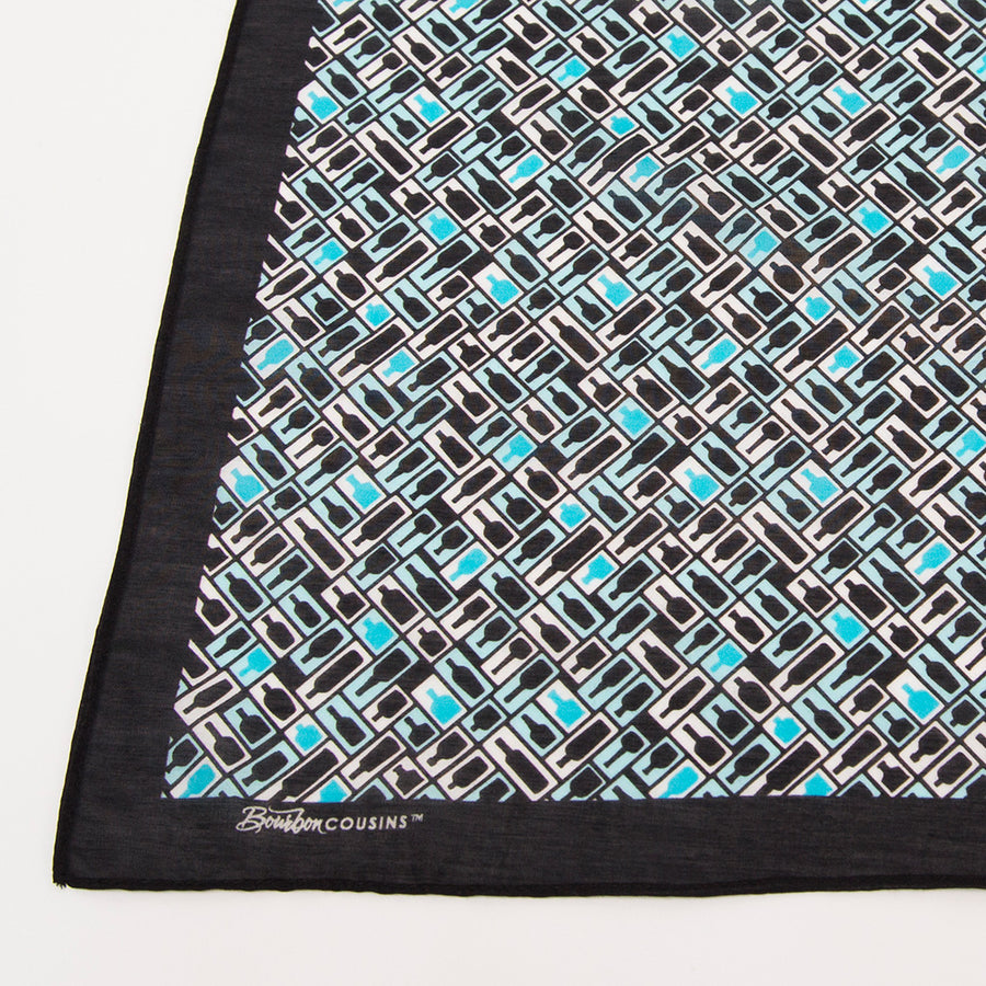 Retro Bourbon© Pocket Square | Black + White + Aqua made of Silk-Cotton