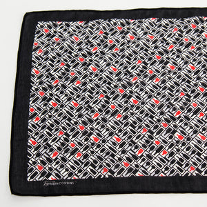 Retro Bourbon© Scarf | Black + White with gray + red accents make of silk-cotton closeup