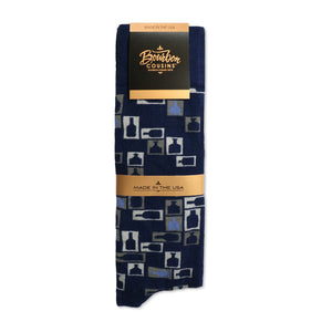 Retro Bourbon Tie + Sock Gift Set | Navy + Denim