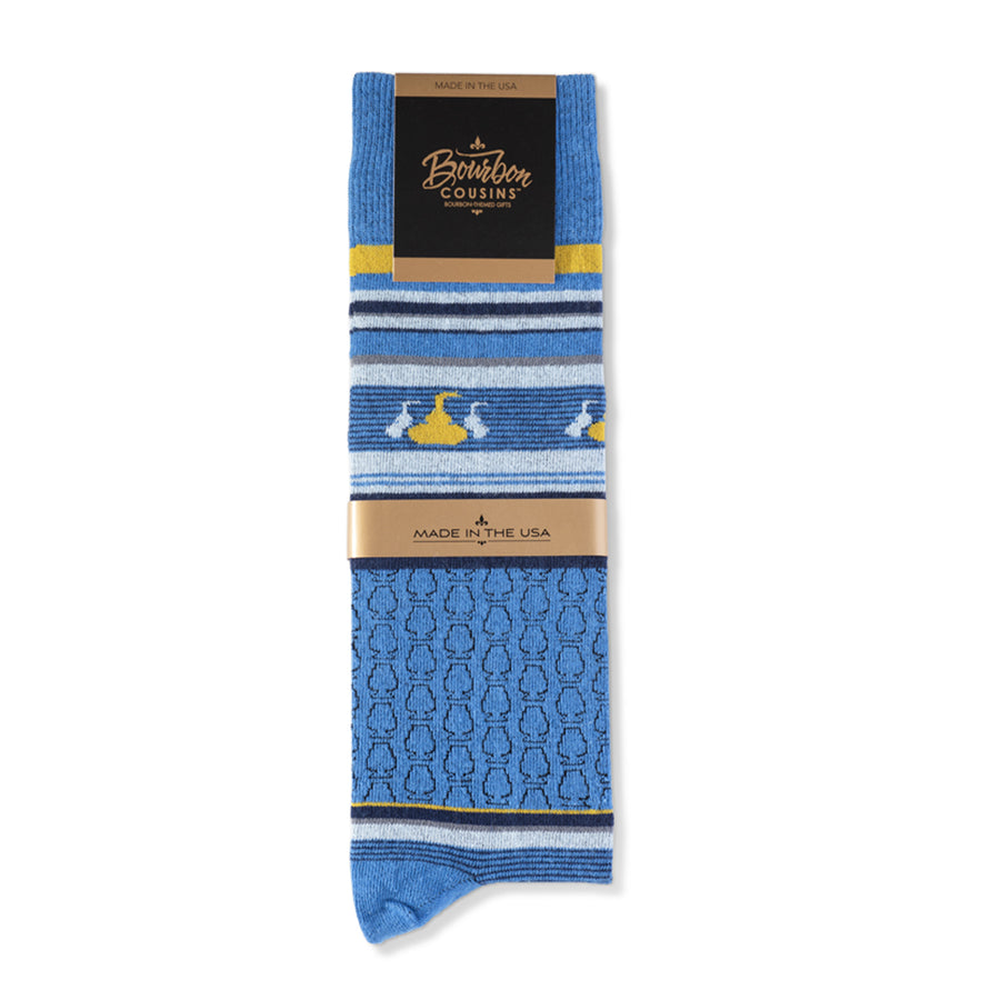 Whisky Tasting Socks |  Royal Blue + Sky + Gold