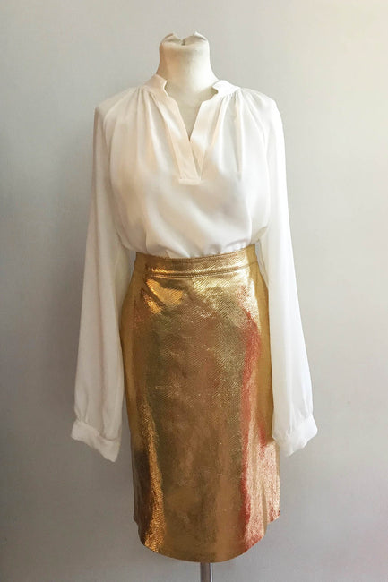 Manhattan Pencil Skirt Snake Gold - Size M