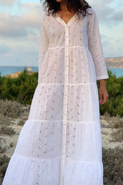 Capri Tiered Henley Broderie Anglese Dress