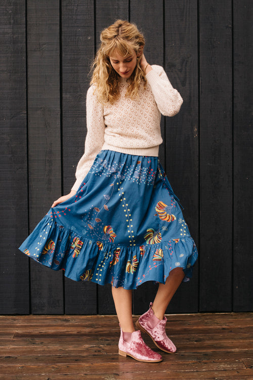 Malta Frilled Midi Skirt