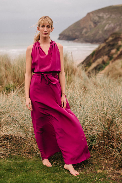 Tilly Gathered Polo Neck Maxi Dress - Soler London - Alex Al-Bader