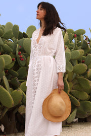 Romantic V Lace Trim Kaftan - Soler London - Alex Al-Bader