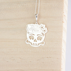Shirley * Sugar Skull Necklace * Sterling Silver * Day of the Dead Pendant * Rockabilly Jewelry * Skull Jewelry * Silver Skull * 50's Skull - Pendant - Songs of Ink and Steel - Jewellery - Bespoke
