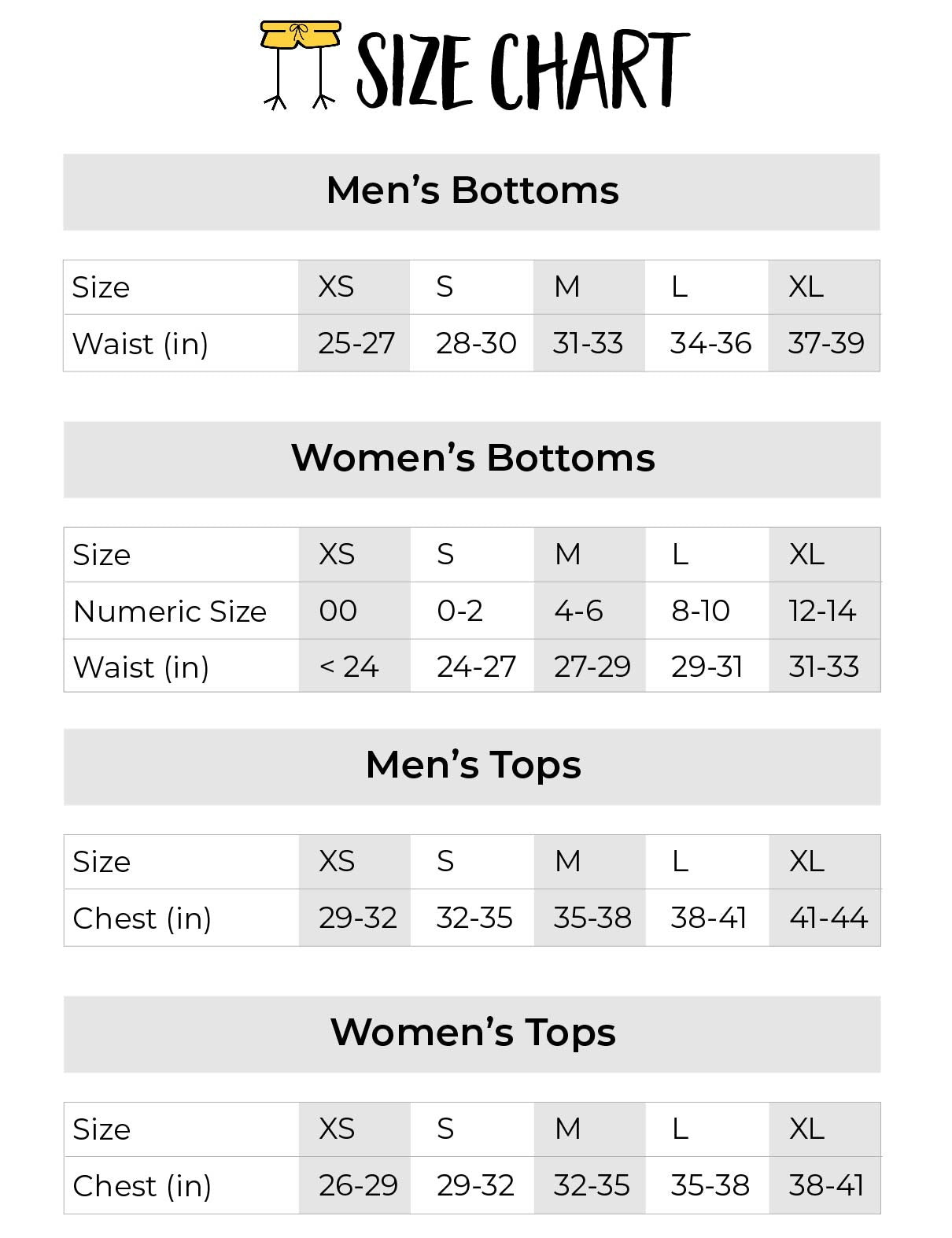 chicknlegs mens and womens size chart