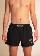 "chicknlegs black men's 4"" half split running shorts front view."