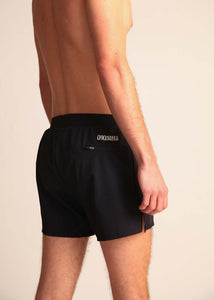 "chicknlegs black men's 4"" half split running shorts rear view showing the zipper pocket."