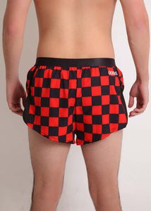 "ChicknLegs men's red and black checkerboard 2"" split running shorts rear view."