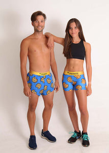 "Chicknlegs men's cookies 2"" split running shorts matching pairs."
