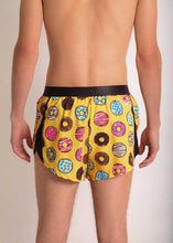 "ChicknLegs men's donuts 2"" split running shorts rear view."