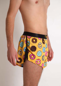 "ChicknLegs men's donuts 2"" split running shorts side view. featuring our mesh splits."