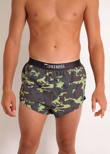 "ChicknLegs mens green camo 2"" split running shorts front view."