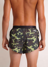 "ChicknLegs mens green camo 2"" split running shorts rear view."
