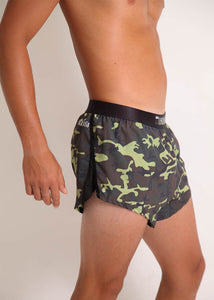 "ChicknLegs mens green camo 2"" split running shorts side view featuring our mesh splits."