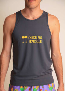 chicknlegs men's grey racing singlet with logo front view.