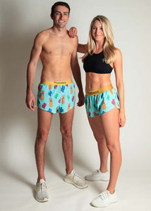 "chicknlegs llamas men's 2"" and women's 1.5"" split running shorts group picture."
