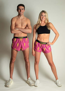 "chicknlegs men's 2"" and women's 1.5"" pink bolts split running shorts group picture."