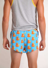 "ChicknLegs men's rubber ducky 2"" split running shorts paired with racing singlet rear view."