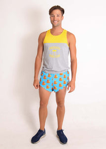 "ChicknLegs men's rubber ducky 2"" split running shorts paired with racing singlet full body view."