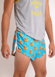 "ChicknLegs men's rubber ducky 2"" split running shorts paired with racing singlet side view."
